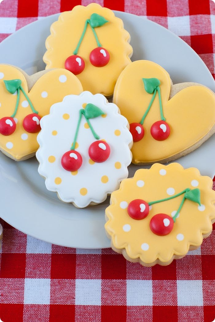 decorated cookies with cherries and polka dots!