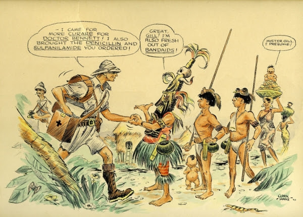 Vintage cartoon depicting Gill making it big after taking the plunge and moving to Ecuador