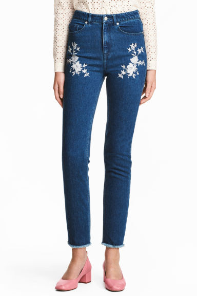 Jeans bordados - Azul denim escuro - SENHORA | H&M PT 1