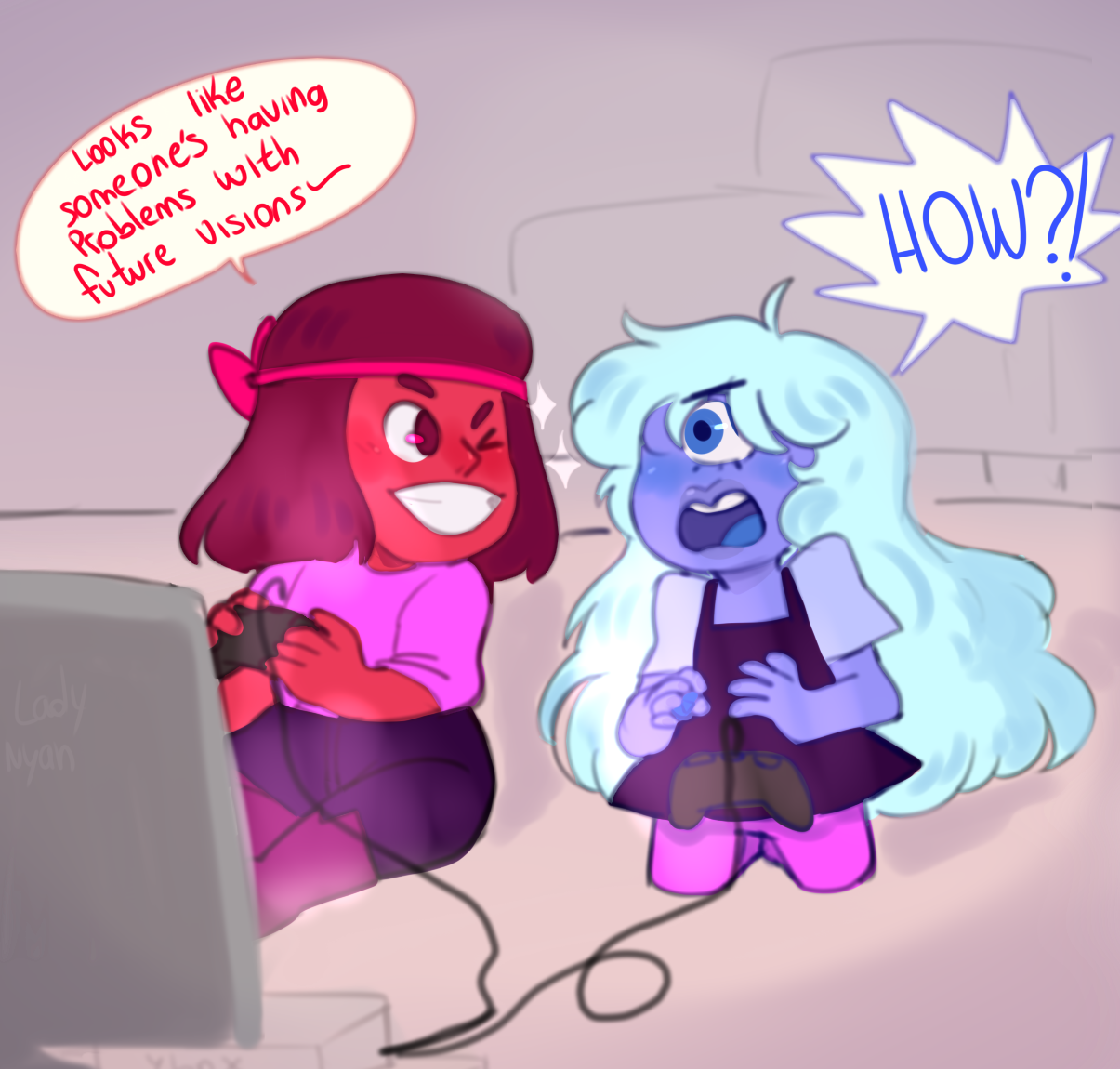 """""""OTP challenge day 19 Gaming together- Rupphire """" I was going to draw Garnet playing videogames butttt I thinks this is better"""