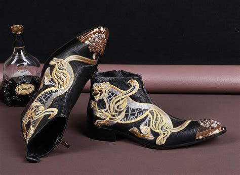 rock fashion embroidery ankle boots man leather boots