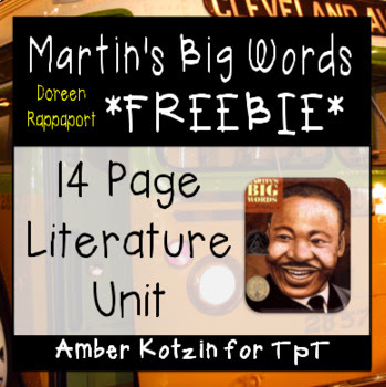 FREEBIE - Martin's Big Words Literature Guide (Common Core