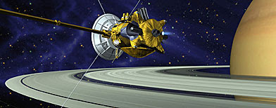 In this artist's concept released by NASA, the Cassini spacecraft is seen with the European Space Agency's Huygens probe attached underneath as it approaches Saturn. The Cassini spacecraft will launch the Huygens probe on a course that should send it plunging into the atmosphere of Saturn's big moon Titan, Friday, Dec. 24, 2004. (AP Photo/NASA)