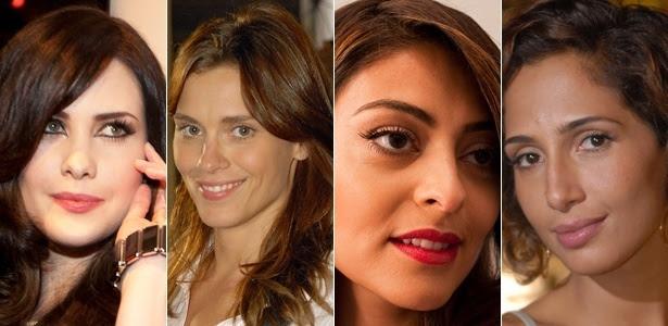 Montagem mostra tons de pele das atrizes Mayana Moura (bem claro), Carolina Dieckmann (claro), Juliana Paes (moreno) e Camila Pitanga (negro)
