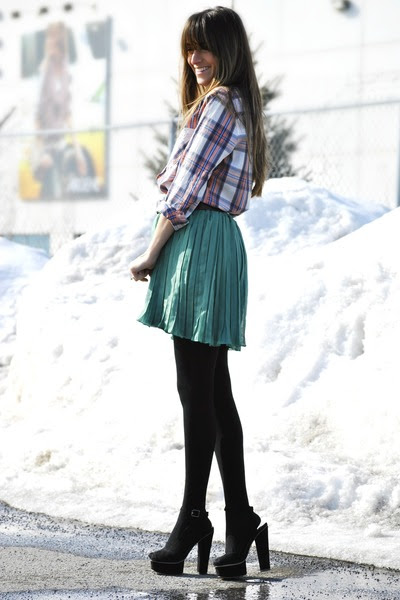 green pleated mini vintage skirt - pink plaid Forever 21 shirt