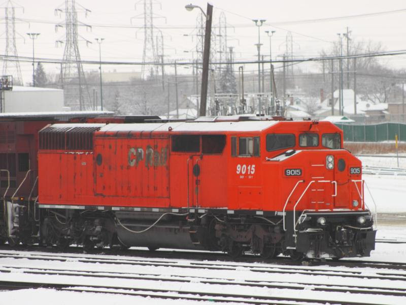 CP 9015 in Winnipeg Manitoba with rebuilt nose