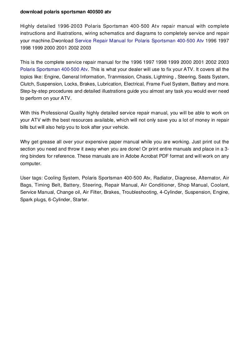 1999 Polaris 400 Xplorer Manual Free Download Freesoftez