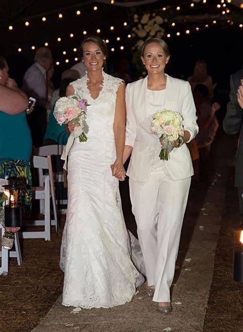Lesbian wedding outfits attire gay girls brides pants suit