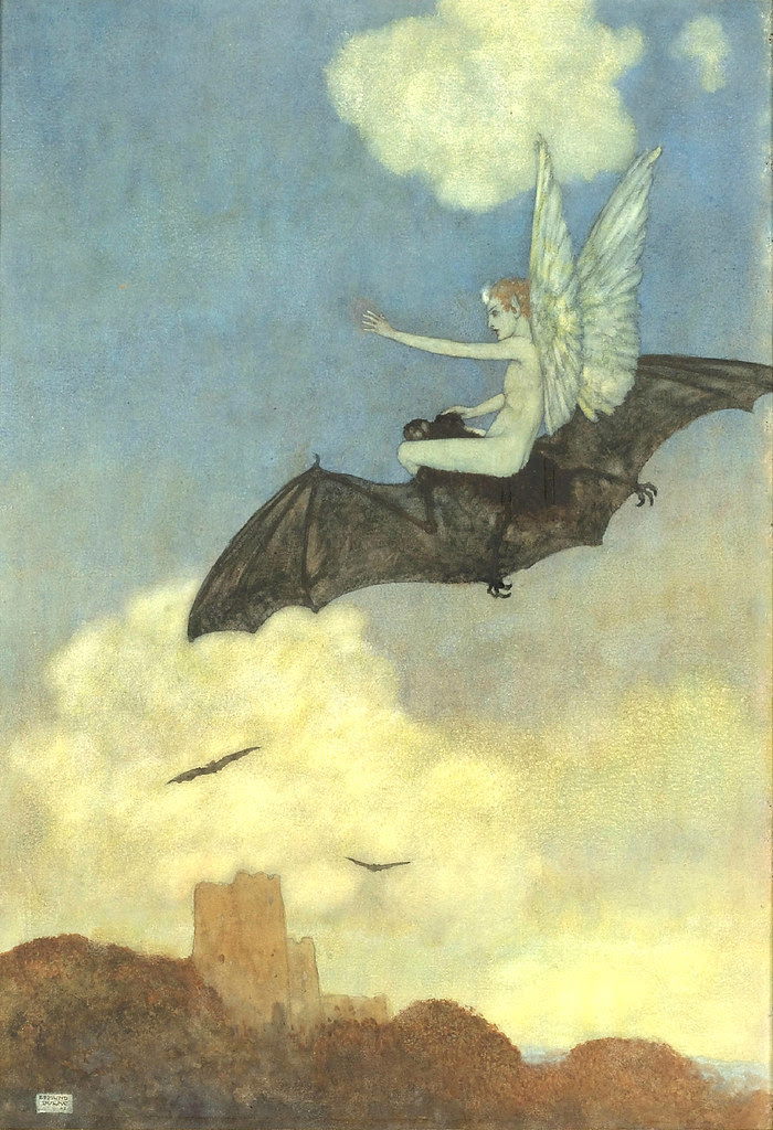 Edmund Dulac - On the Bat's Back, From The Tempest, 1908
