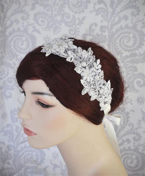 Bridal Lace Headpiece, Wedding Headband With Satin Ribbon