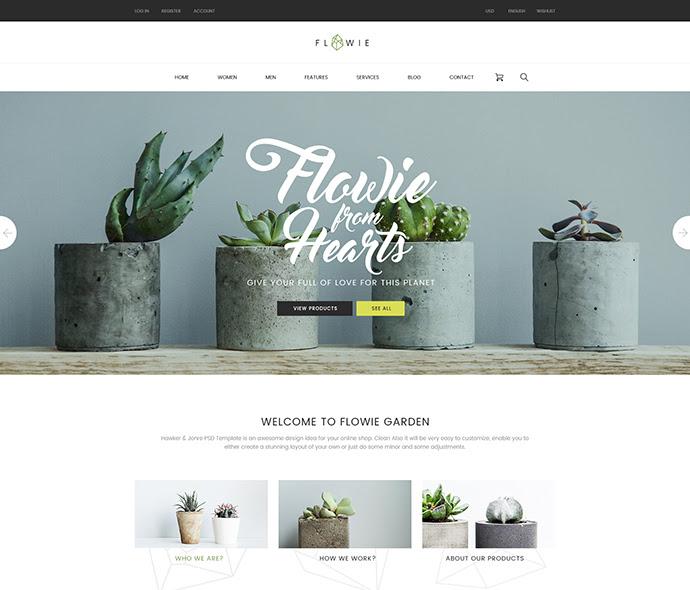 Flowie - Jardinería y decoración del hogar de la plantilla PSD Shop