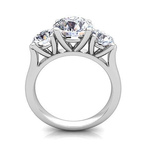 3 Stone Ring Setting in Platinum (without diamonds