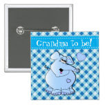 Blue & White Plaid with Baby Elephant 2 Inch Square Button