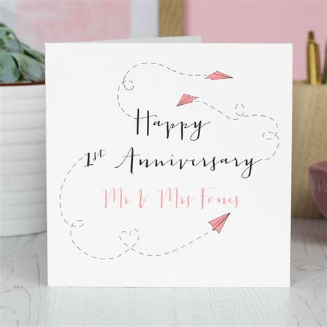 personalised first 'paper' anniversary card by oops a