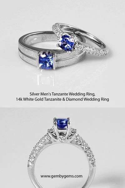 925 Silver Mens Wedding Band with Tanzanite Gemstone 14K