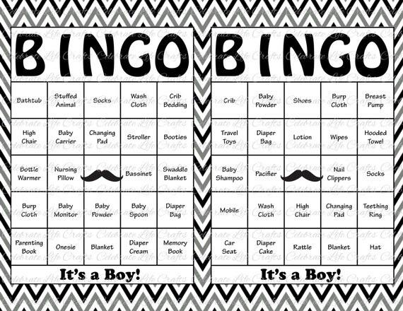 100 Baby Shower Bingo Cards Mustache by CelebrateLifeCrafts