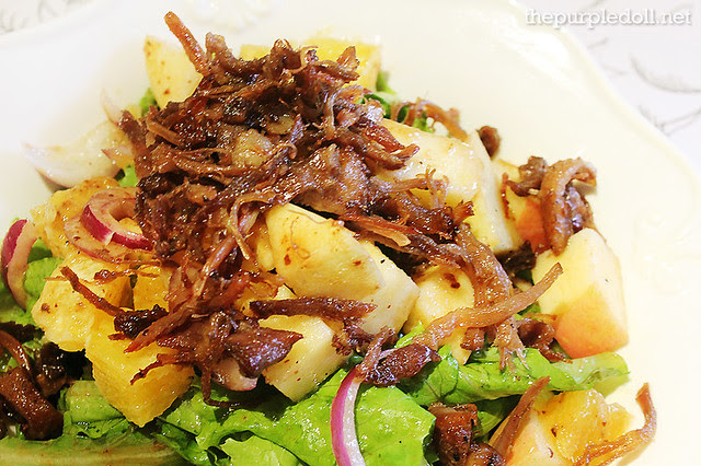 Mixed Greens with Duck Confit, Red Onions, Apples, Oranges and Champoy in Prune Vinaigrette P350