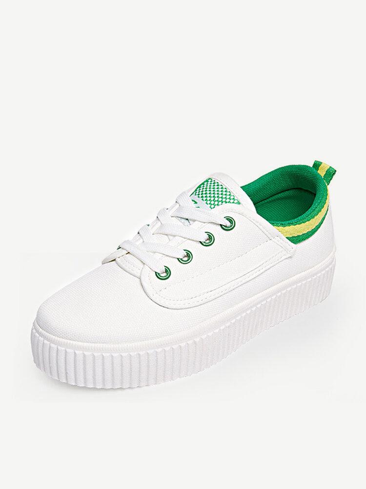 Lona blanco del color del partido del estilo coreano del cordón de zapatos casual hasta la Tierra