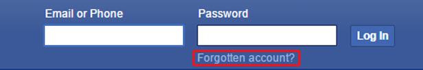 Facebook password reset screen