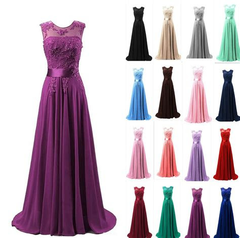 chiffon long formal bridesmaid ball gown party