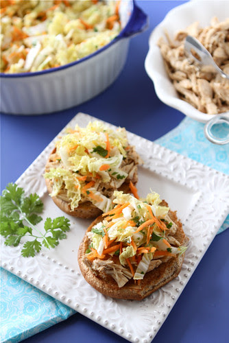 Slow Cooker Hoisin Shredded Chicken Sandwich Recipe with Asian Slaw