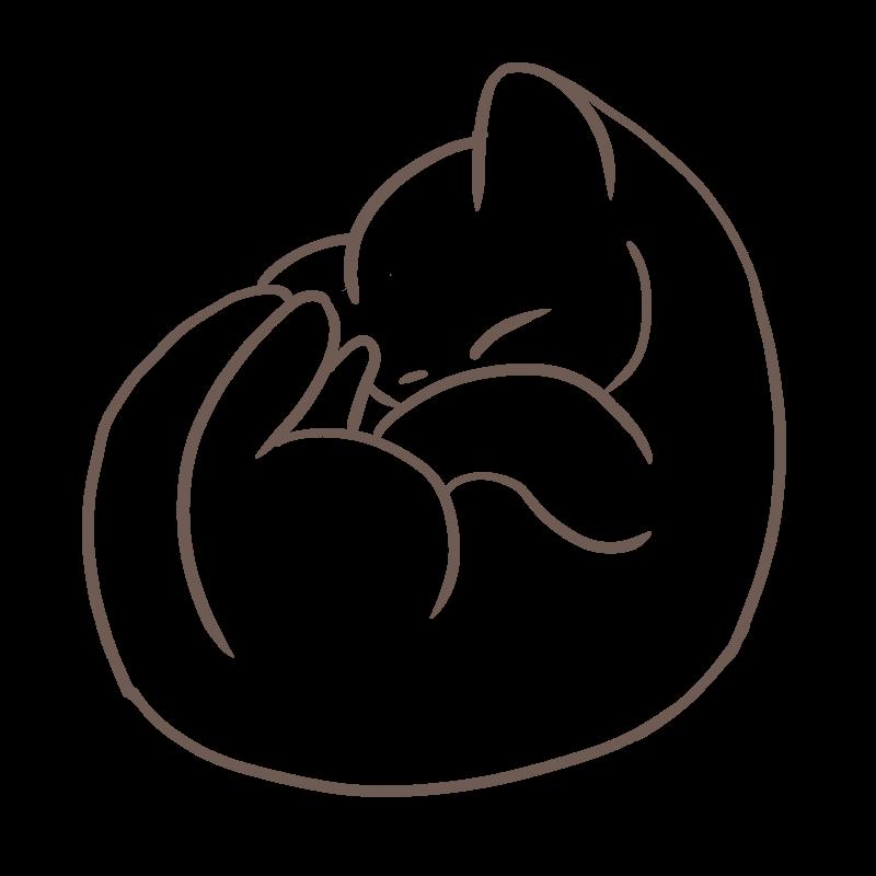 新しいフリーイラスト 丸まって眠る可愛い子猫の線画 ニャンモナイト