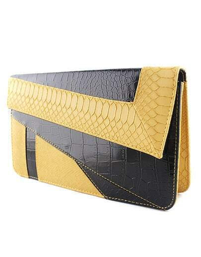 Yellow Black Crocodile Leather Clutch Bag pictures