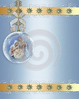 Christmas Nativity ornament gold border