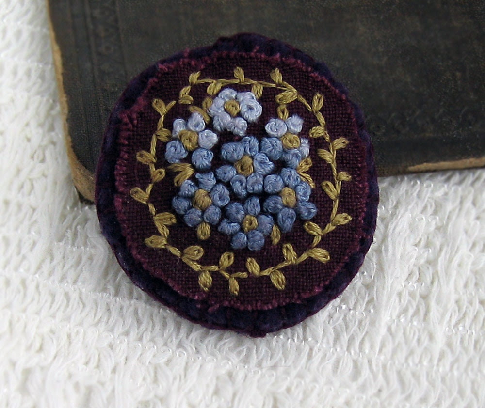 Plum Pretty Hand Embroidered Floral Brooch / Pin