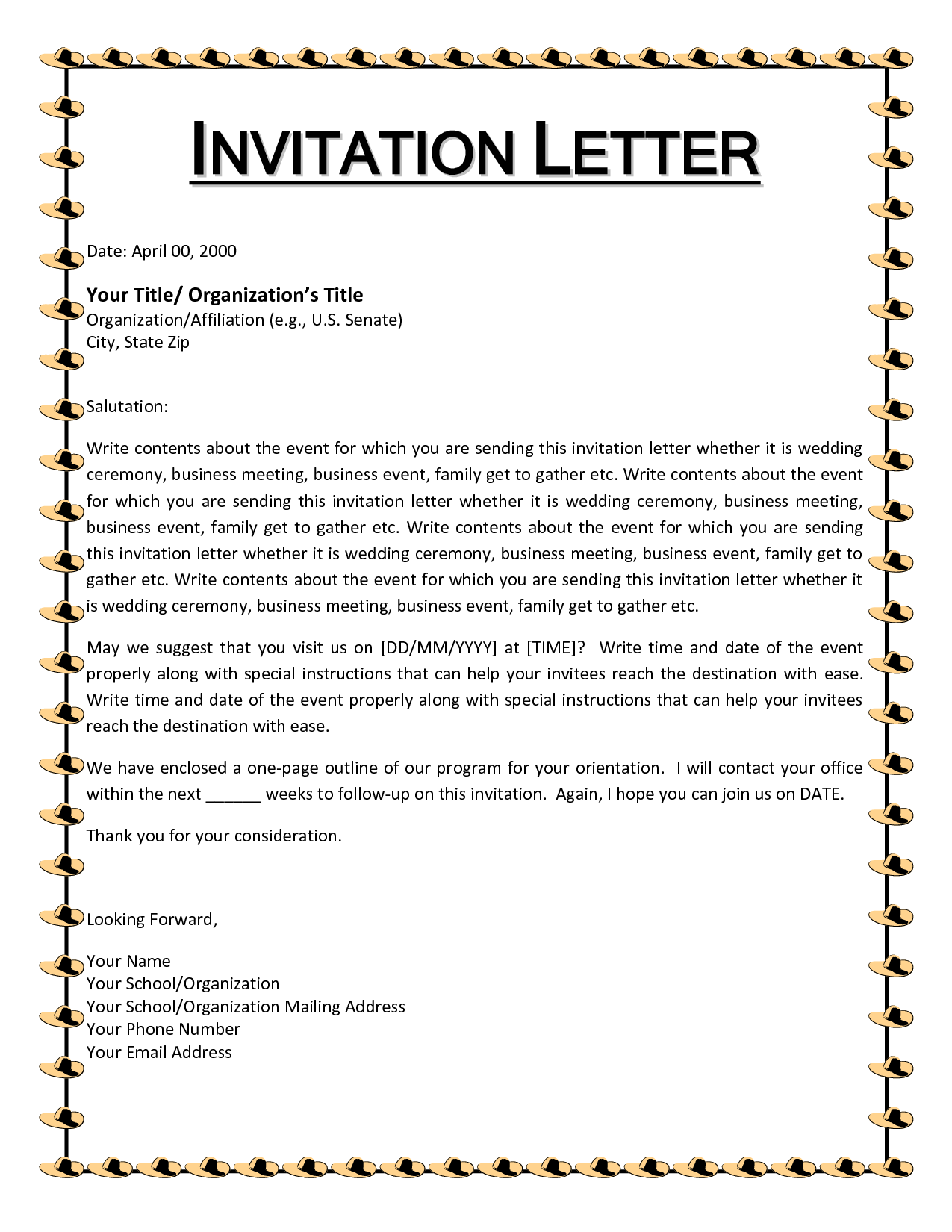 5 New Sample Letter To Invite Someone To Visit Usa