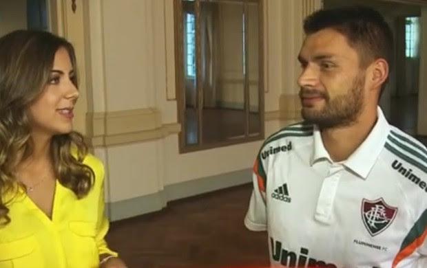 Domitila Becker e Rafael Sobis (Foto: Reprodução / SporTV)
