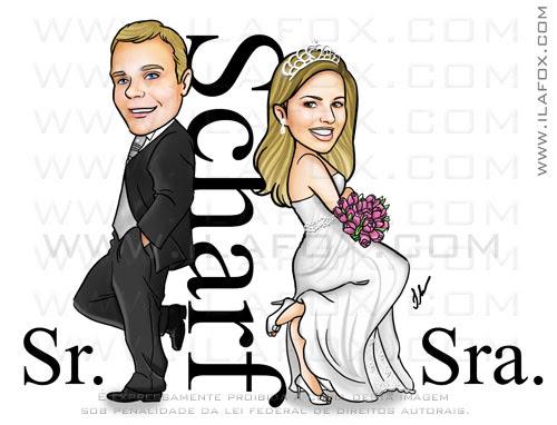caricatura casal, caricatura sr e sra smith, caricatura bonita, Scharf, caricatura para casamento, by ila fox