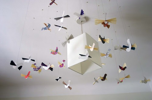 paper birds with pleated wings mobile