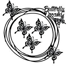 Butterfly dreams scribble frame  200 x 200 min buy 3
