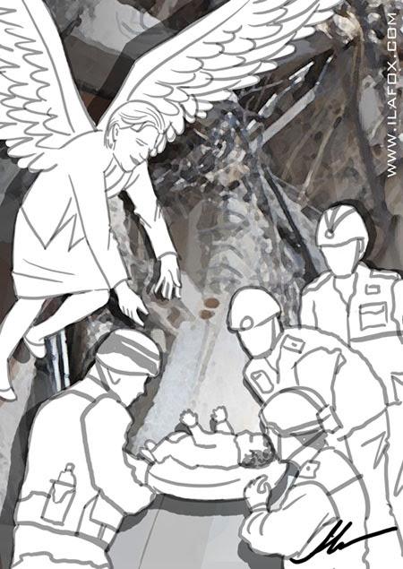 Zilda Arns protegendo bebê no terremoto do Haiti