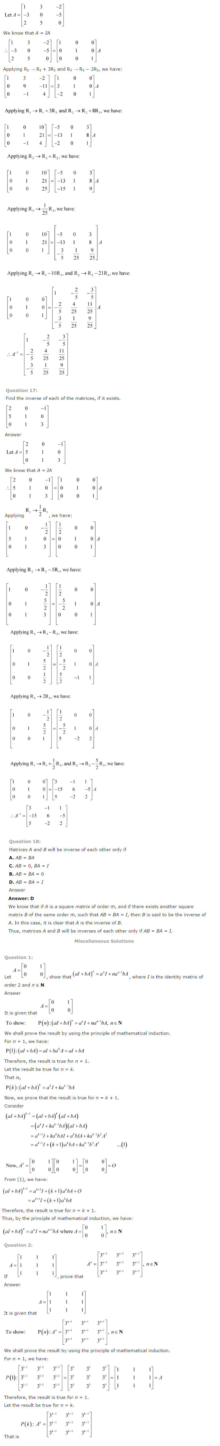 NCERT Solutions for Class 12 Maths Chapter 3 Matrices ex 3.11