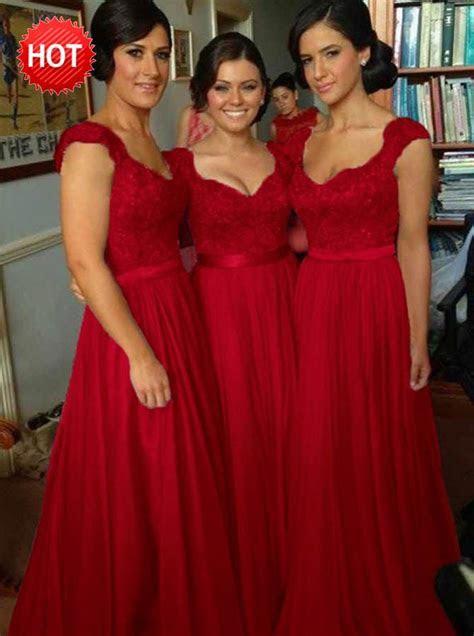 A Line Scoop Cap Sleeves Dark Red Bridesmaid Dress with