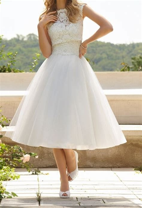 refined whiteivory lace tulle tea length wedding dress