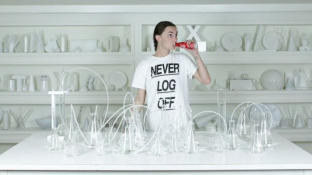 """a photo by krystal south shows a woman wearing a shirt that says """"never log off"""""""
