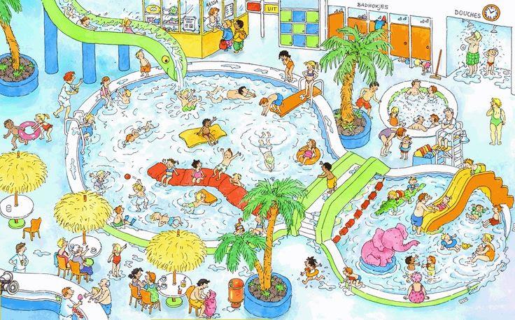 TOUCH den här bilden: Het zwembad (getekend door Dagmar Stam). by Paula Prevoo