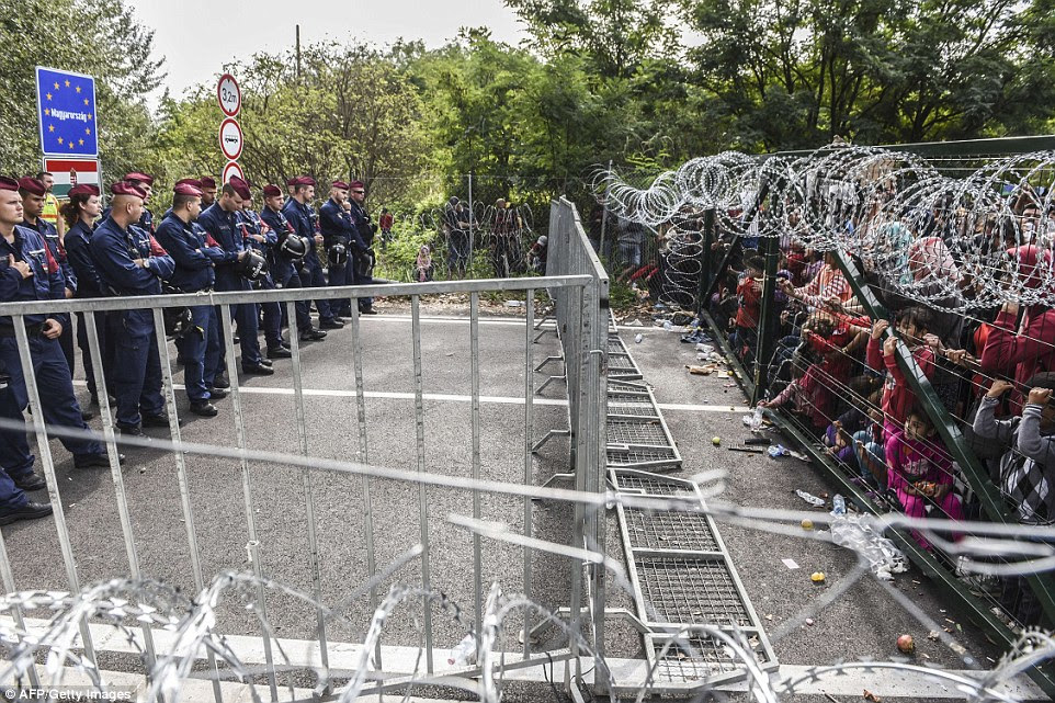 No entry: Hungarian border police stand guard opposite refugees standing behind a fence at the Hungarian border with Serbia near the town of Horgos, Serbia