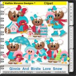 Ginnie And Birdie Love Snow Clipart - CU