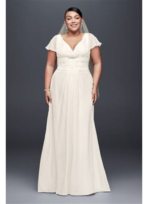 Flutter Sleeve Chiffon Plus Size Wedding Dress   David's