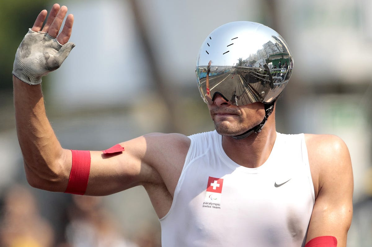 "Marcel Hug, the ""Swiss Silver Bullet"" won gold in the wheelchair marathon."