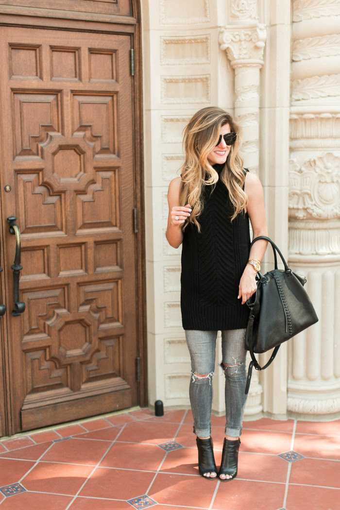 how to wear a sleeveless turtleneck  grey and black outfit