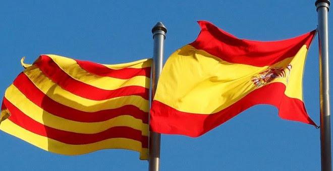 Banderas de España y Catalunya