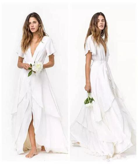 Discount 2018 Cheap Beach Bohemian Wedding Dresses Slits