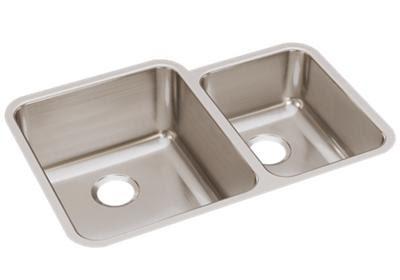 Elkay Lustertone Classic Stainless Steel 30 34 X 21 X 9 78 Offset 6040 Double Bowl Undermount Sink Elkay