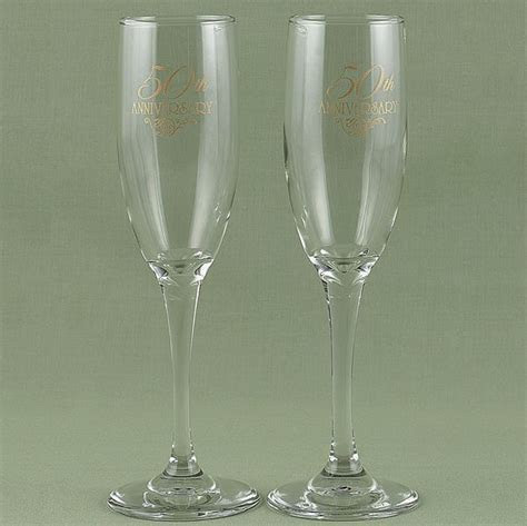 Engraved 50th Anniversary Toasting Flutes Set