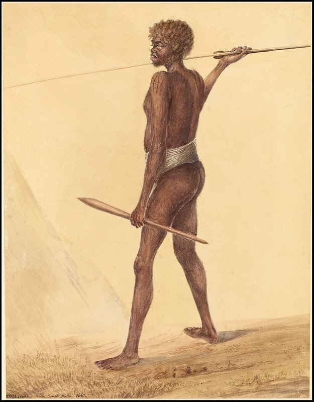 watercolour sketch of native Australian male carrying spear and woomera (spear-thrower)